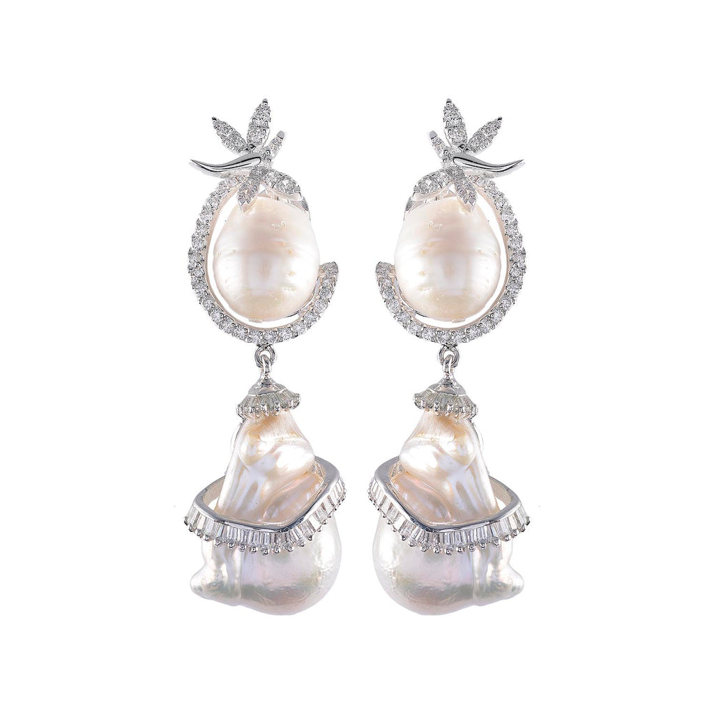 Amishi - Crystal Pearl Chandelier Drop Earrings