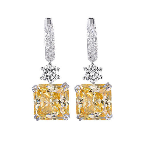 Amishi - Yellow & Silver Chandelier Drop Earrings
