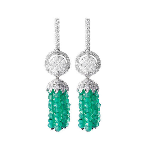 Amishi - Lasa Green Chandelier Drop Earrings