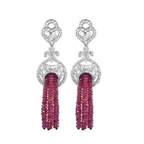 Amishi - Briolla Red Chandelier Drop Earrings