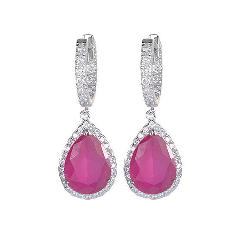 Amishi - Priya Red Crystal Drop Earrings