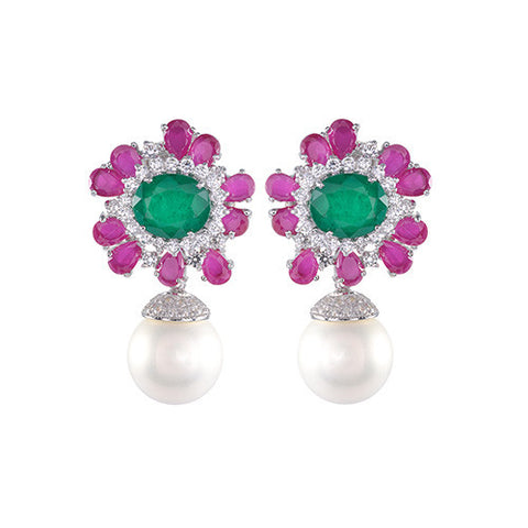 Amishi - Flower Shape Crystal Earrings
