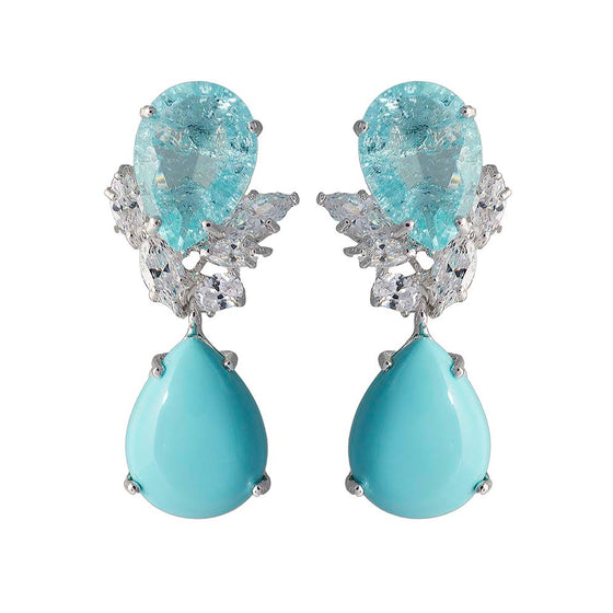 Amishi - Turquoise Marina Crystal Drop Earrings
