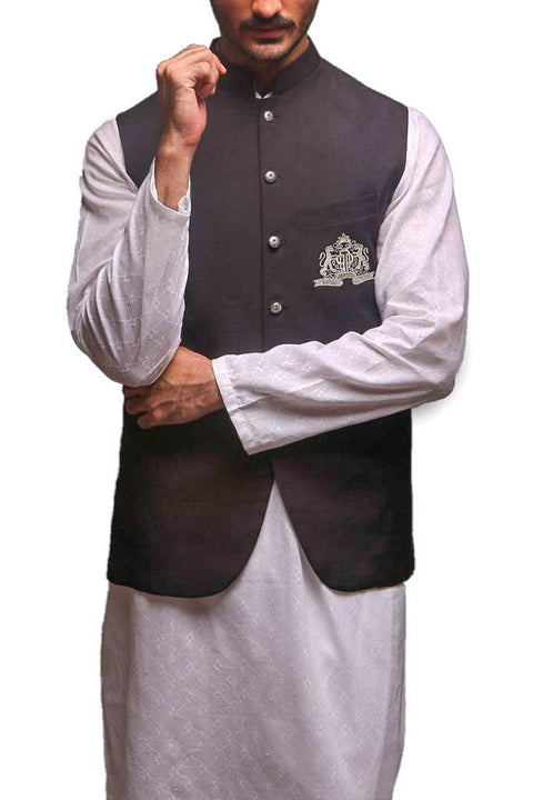 Deepak Perwani - White Cotton Suit With Raw Silk Waist Coat