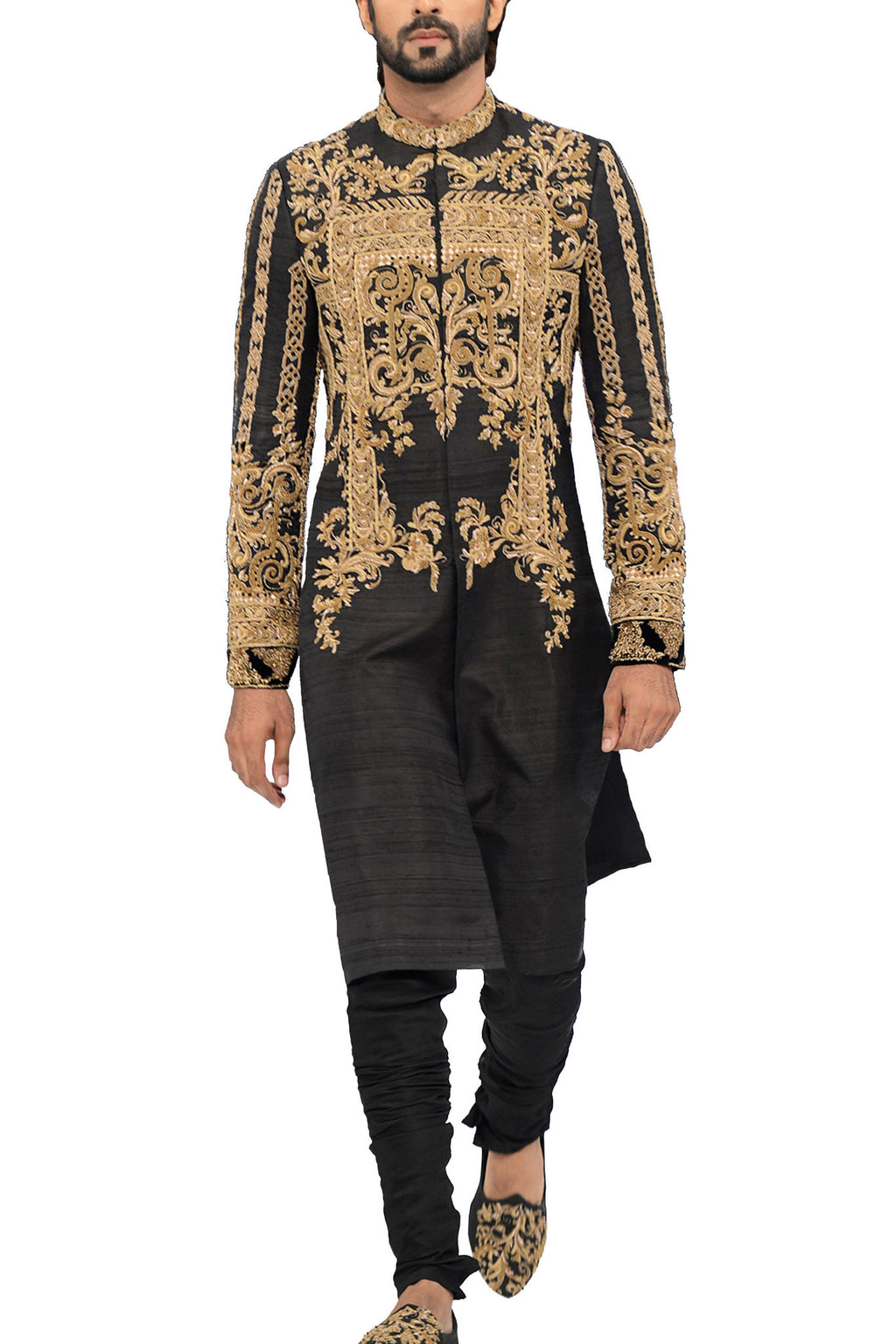 HSY - Black Raw Silk Embellished Sherwani With Trousers