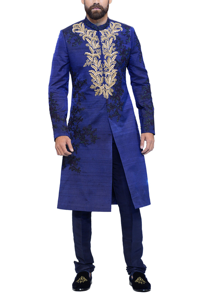 HSY - Blue Raw Silk Embellished Sherwani With Trousers