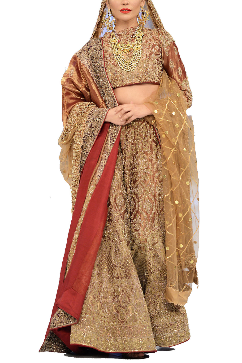 HSY - Rust Tissue Lehnga With Tissue Dupatta & Choli