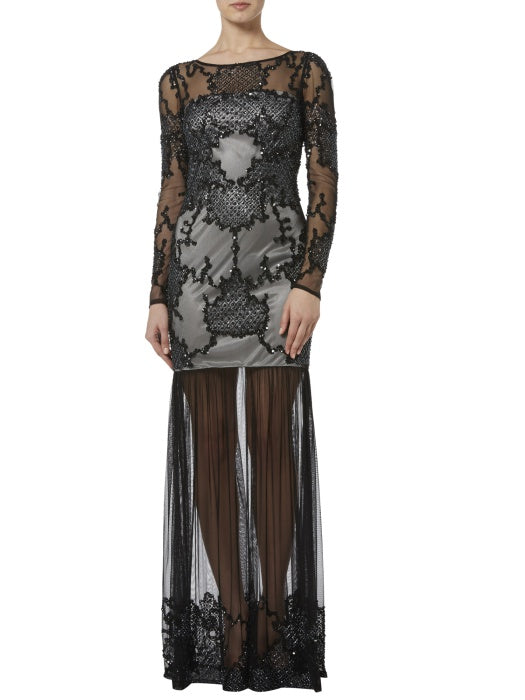 Raishma - Black And Silver Embellished Sheer Maxi
