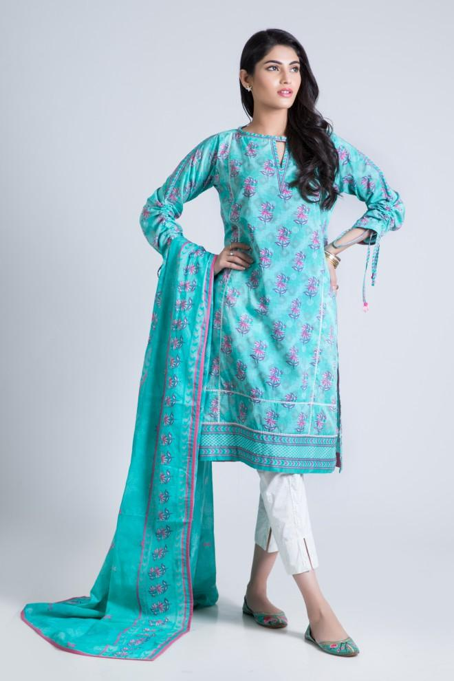 Bonanza Satrangi - Aqua Meadow Mist B - 3 Pc