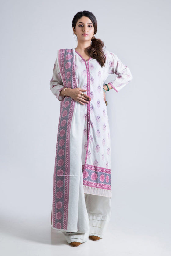 Bonanza Satrangi - Pink Dove White A - 3 Pc