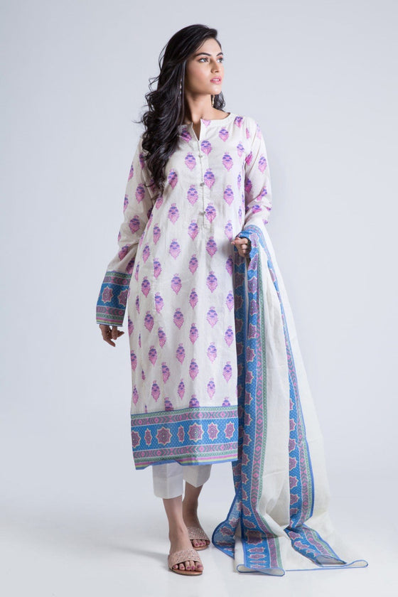 Bonanza Satrangi - Purple Dove White B- 3 Pc