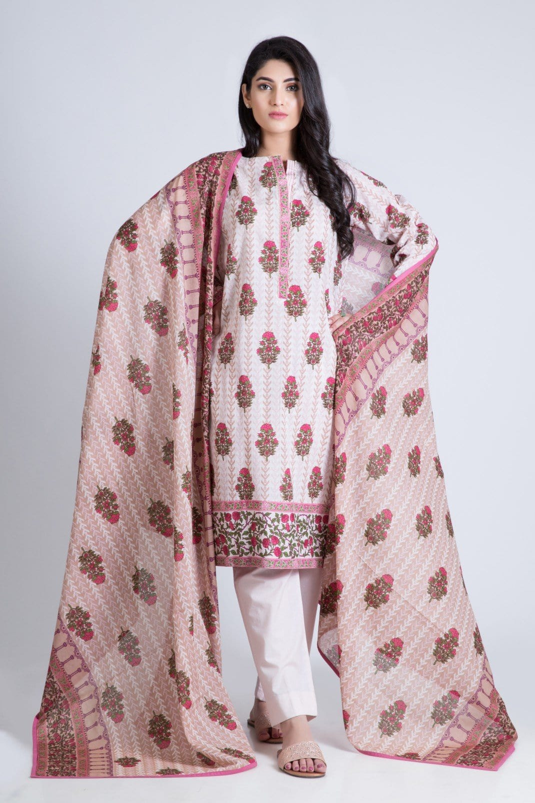Bonanza Satrangi - Pink Chintz A - 3 Pc