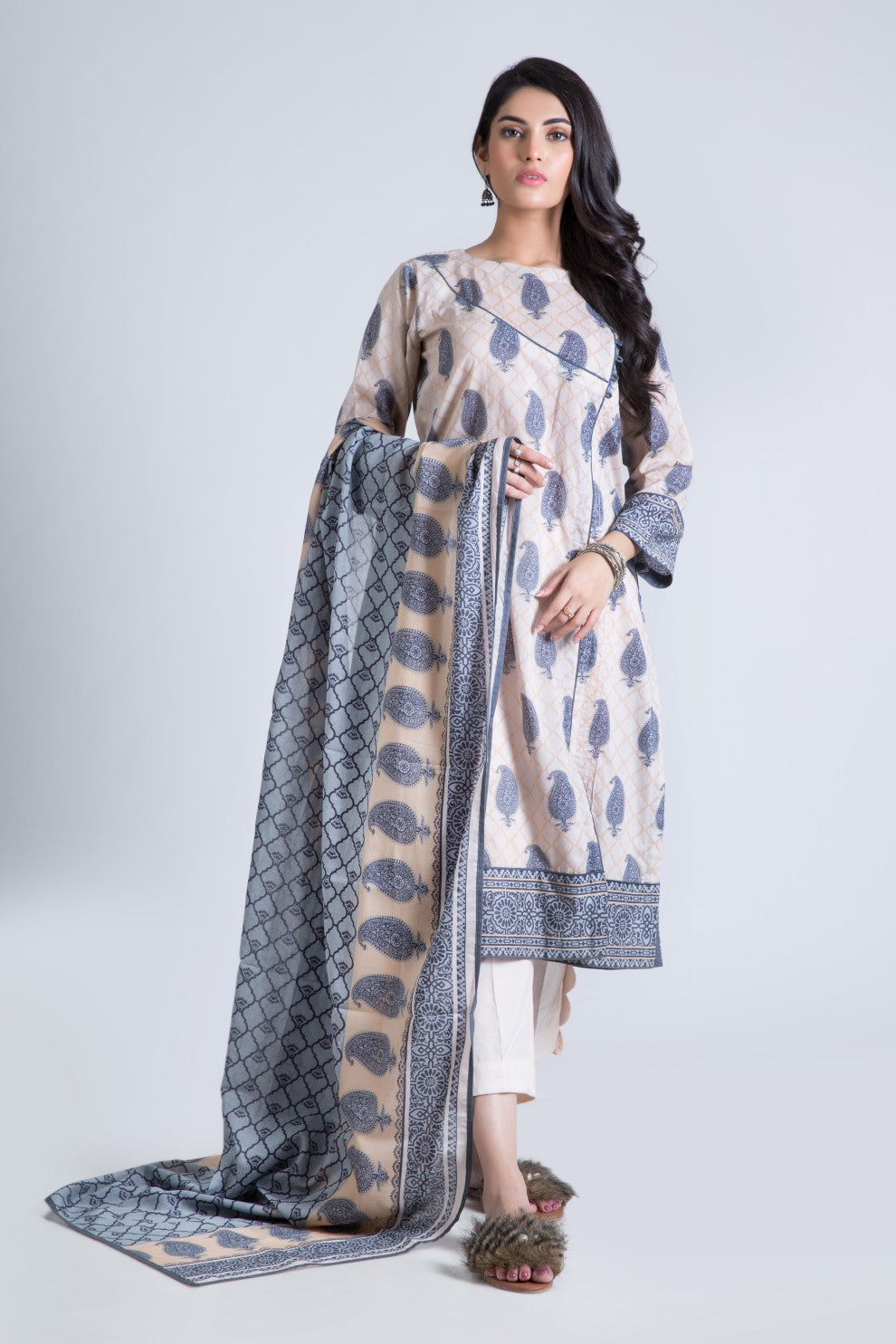Bonanza Satrangi - Gray Ravish B - 3 Pc
