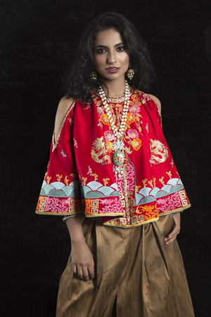 Sanam Chaudhri - Red Raw Silk Top