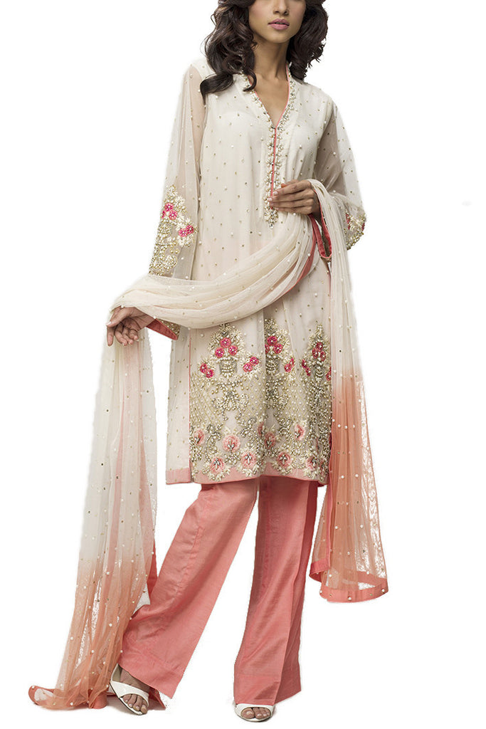 Deepak Perwani - White & Peach 3 Piece Net Suit