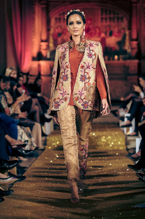 Shamaeel - Pure Silk Kani Cape With Silk Shirt & Pencil Pants