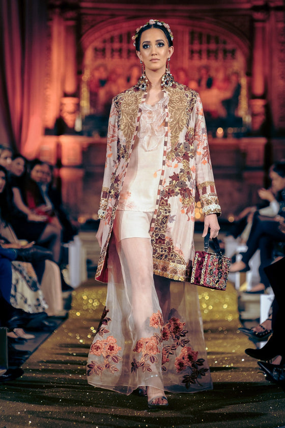 Shamaeel - Digital Print Silk Jacket With Organza Inner & Flare Pants