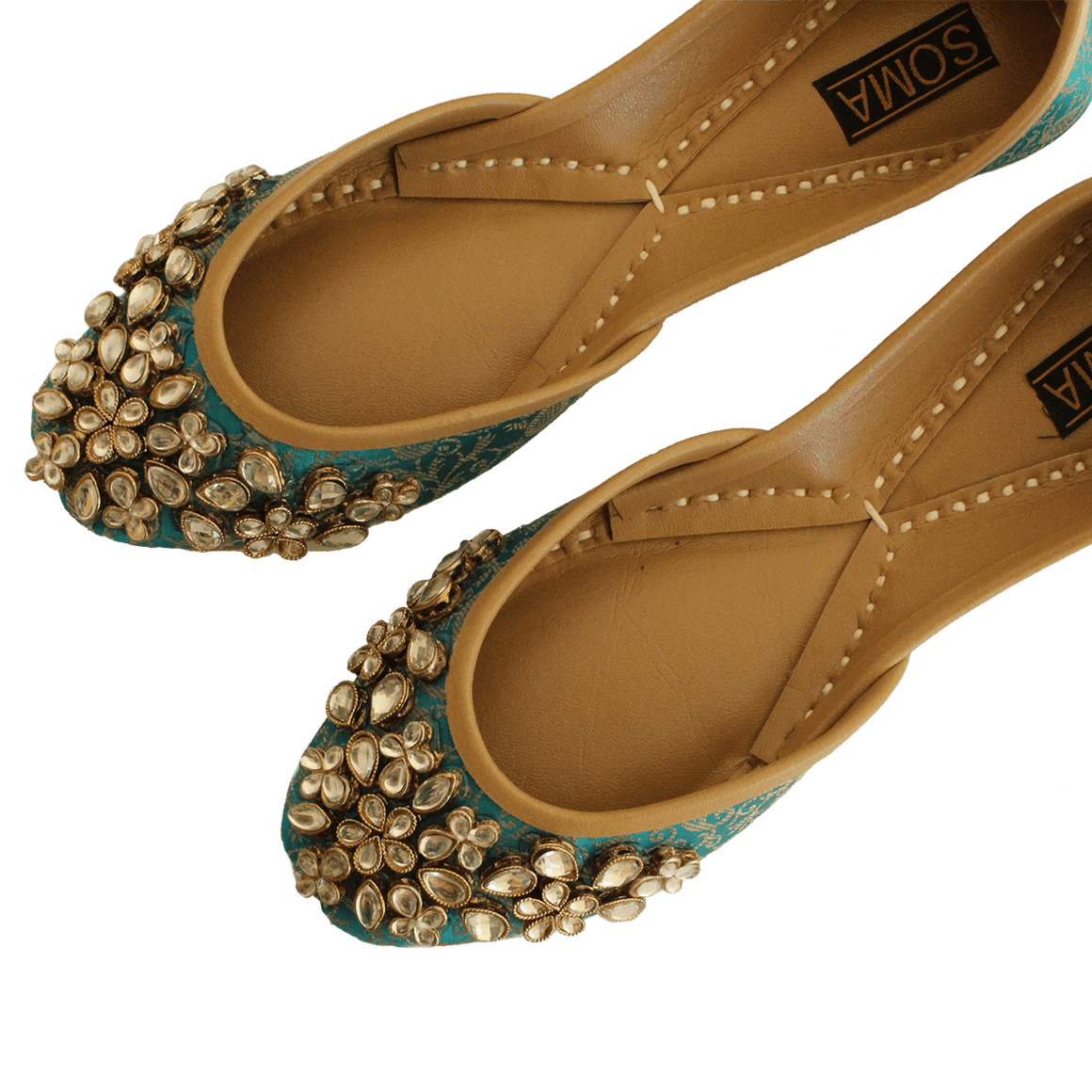 Soma - Kundan Green Hand Crafted Footwear