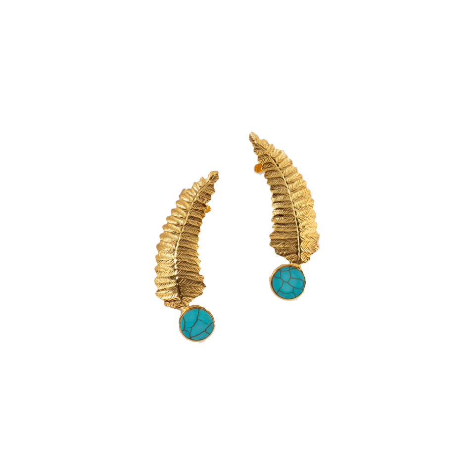 Rema Luxe - Gold & Navy Blue Moon Filigree Drop Brass Ear Cuff