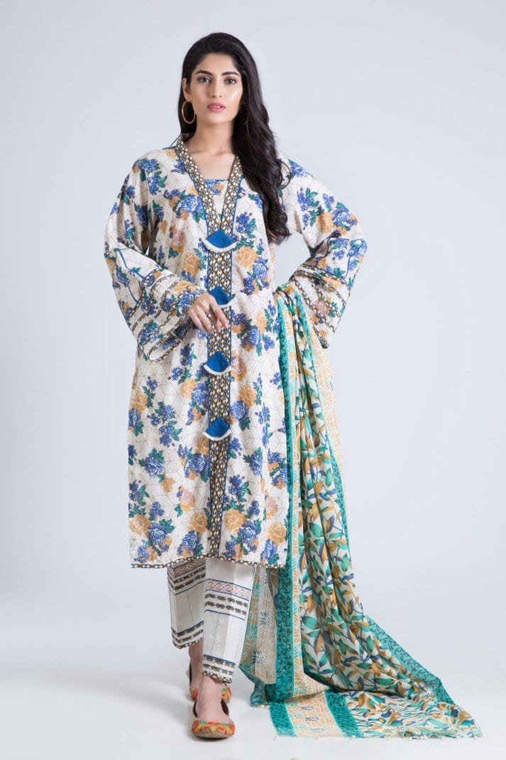 Bonanza Satrangi - O-White Pretty B - 3 Pc