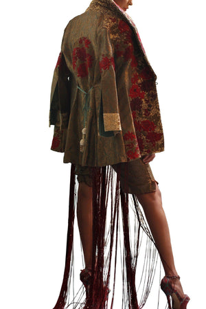 Shamaeel - Hand Embroidered Gold Brocade Jacket With Silk Inner