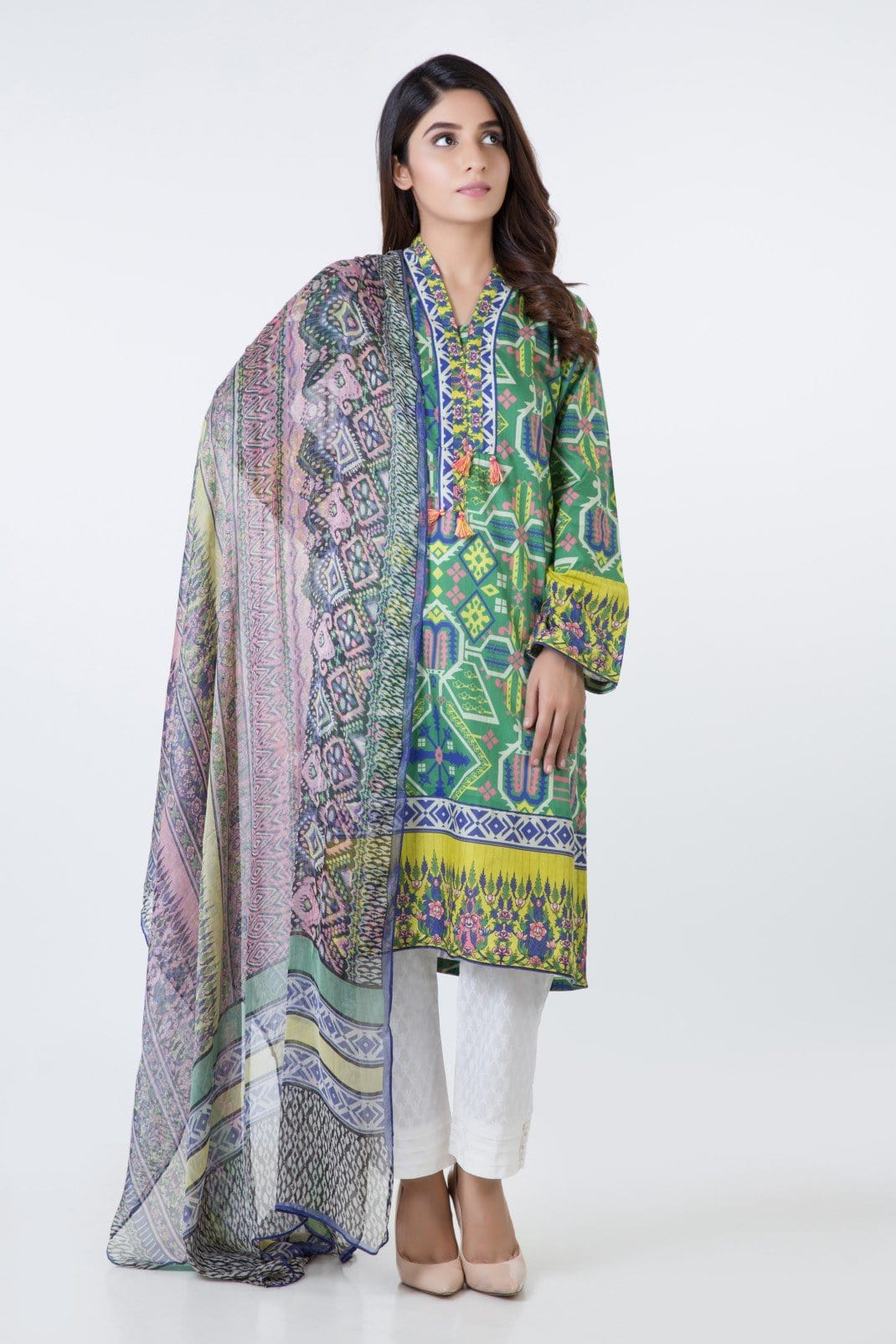 Bonanza Satrangi   Green Lawn Suit - Stitched