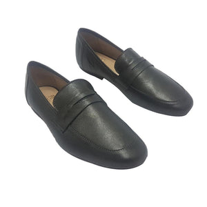 Magnolia - Metallic Black T Shape Loafers Mag-022