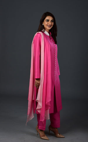 Maheen Khan - Pink Raw Silk