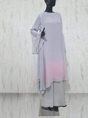 Maheen Khan - Grey Chiffon Charmeuse Tunic Dress