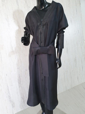 Maheen Khan - Black Stretch Polyester Dress