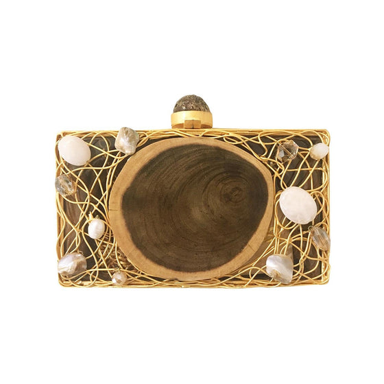 Amishi - Gold Metal & Embellished Clutch