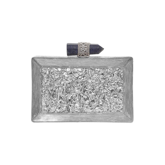 Amishi - Lillia Long Silver Metal Clutch