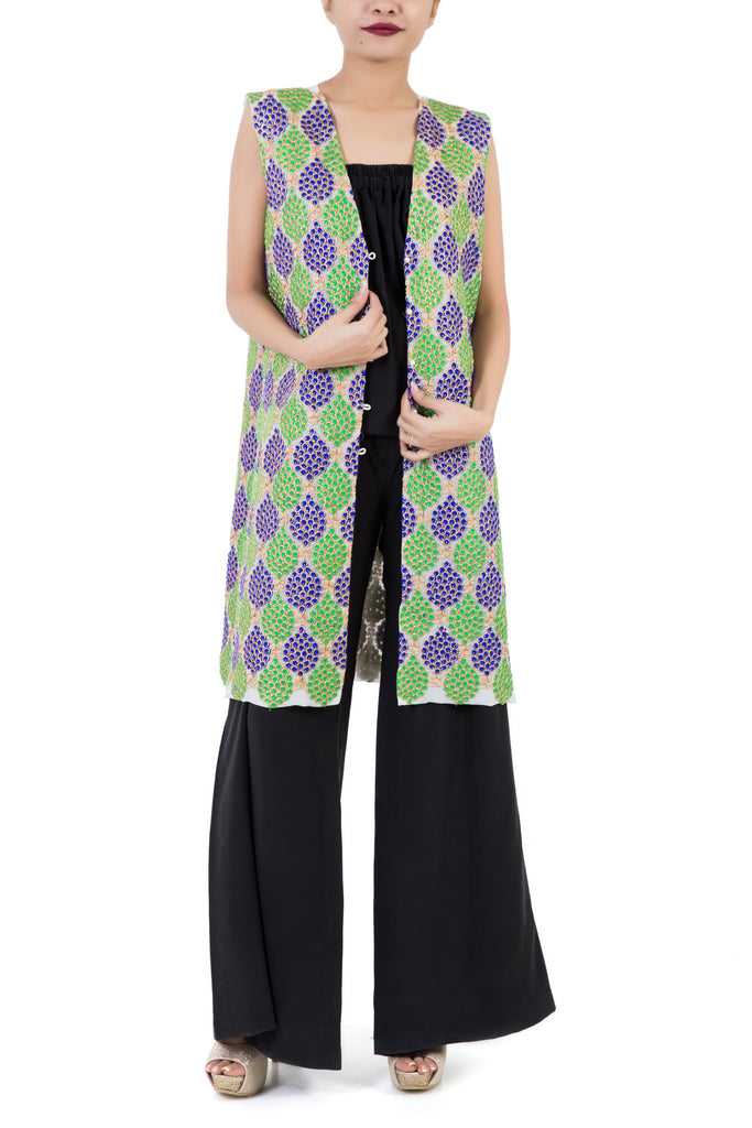 Mehreen Noorani - The Peacock Multicolor Cotton Silk Coat