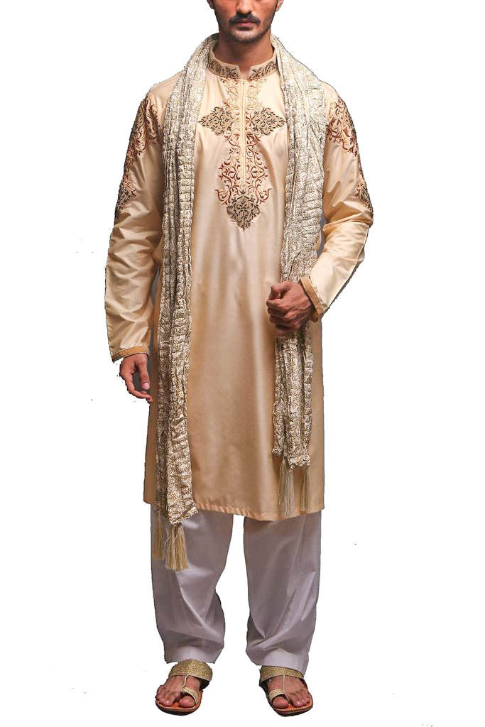 Deepak Perwani - Cotton Silk Suit With Shawl