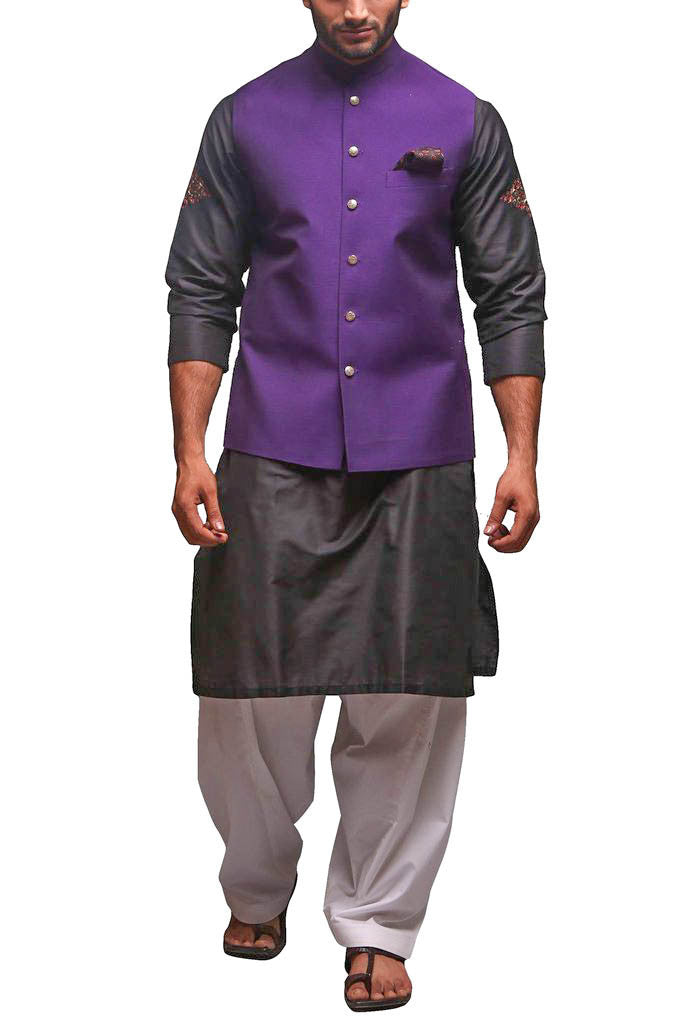 Deepak Perwani - Raw Silk Waist Coat