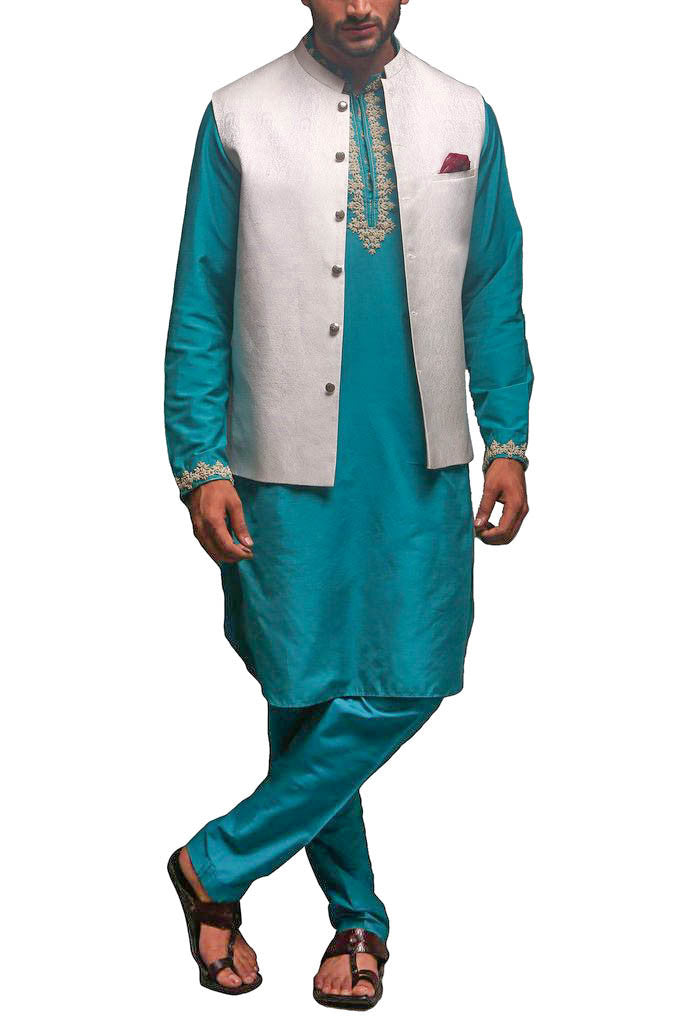 Deepak Perwani - Cotton Silk Suit With Jamawar Waist Coat