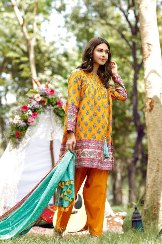 Alkaram Studio - Orange 2 Piece Cambric Printed Suit Clearance Sale