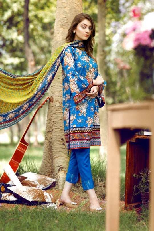 Alkaram Studio - Blue 2 Piece Cambric Printed Suit Clearance Sale
