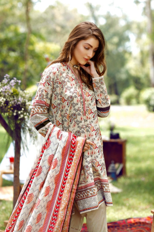 Alkaram Studio - Grey 2 Piece Cambric Printed Suit Clearance Sale