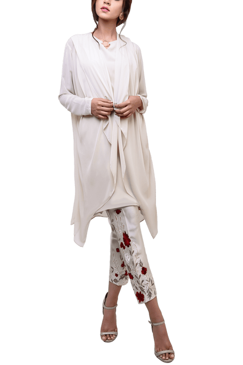 Natasha Kamal -  Floretta Georgette Chiffon Jacket & Tunic With Raw Silk Trousers