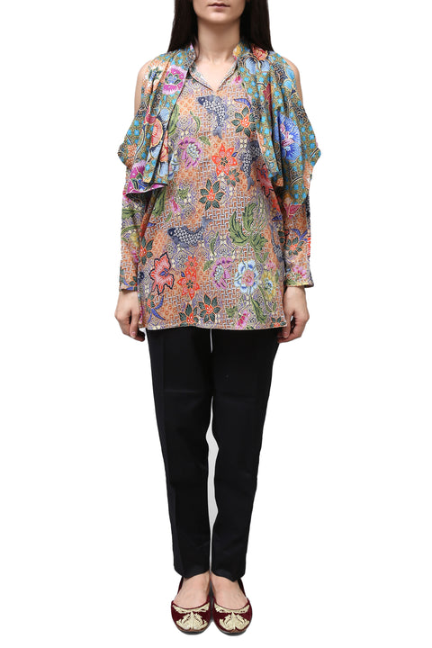 Generation - Blue Bold Batik Peep Shoulder Top