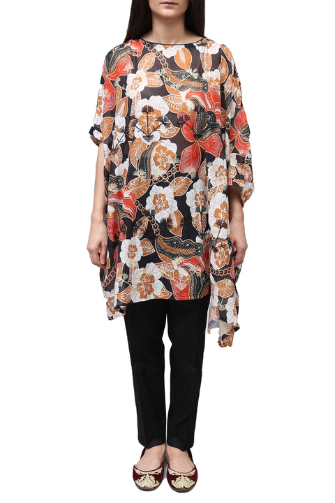Generation - Black Printed Box Cut Top With Shameez