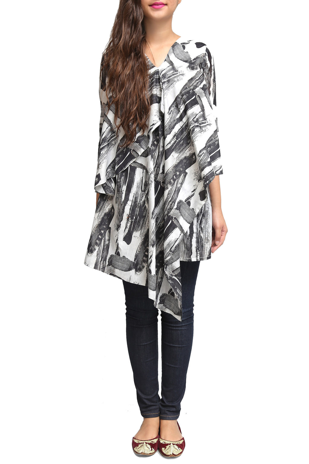Generation - Black Dobby Viscose Printed Shirt