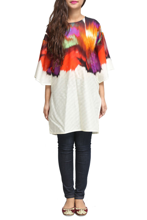 Generation - Off White Dobby Viscose Printed Shirt