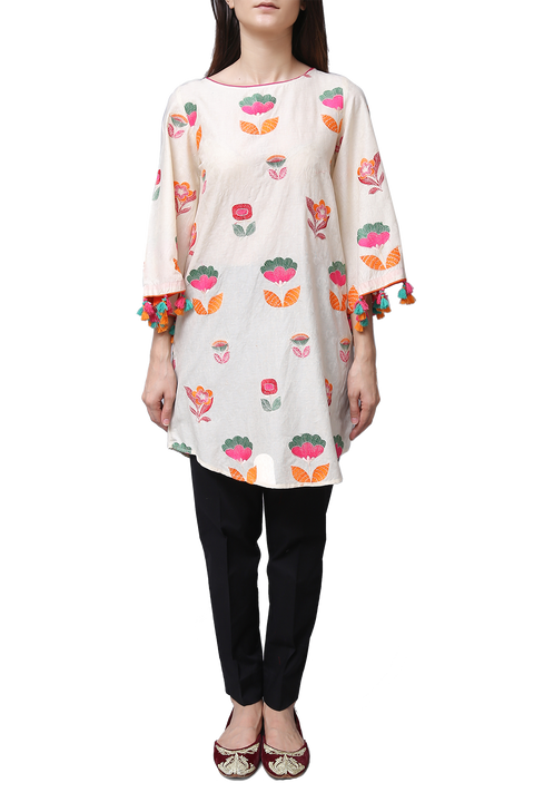 Generation - Off White Self Jacquard Colour Pop Tunic