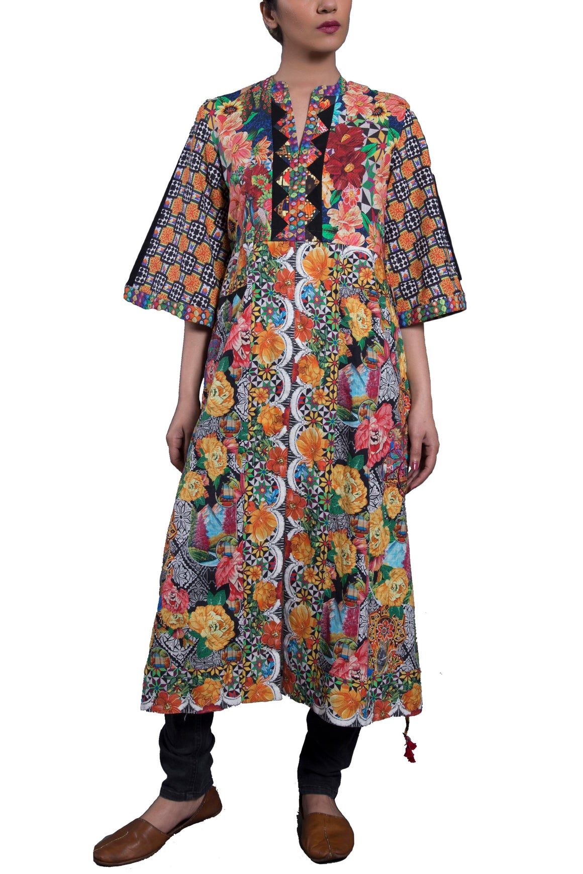 Generation - Multi Color Eclectic Folk Draw-String Tunic