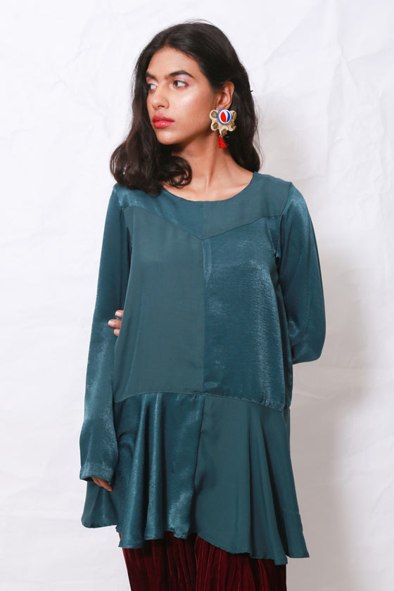 Generation - Green Organic Modernity Dropped Waist Peplum