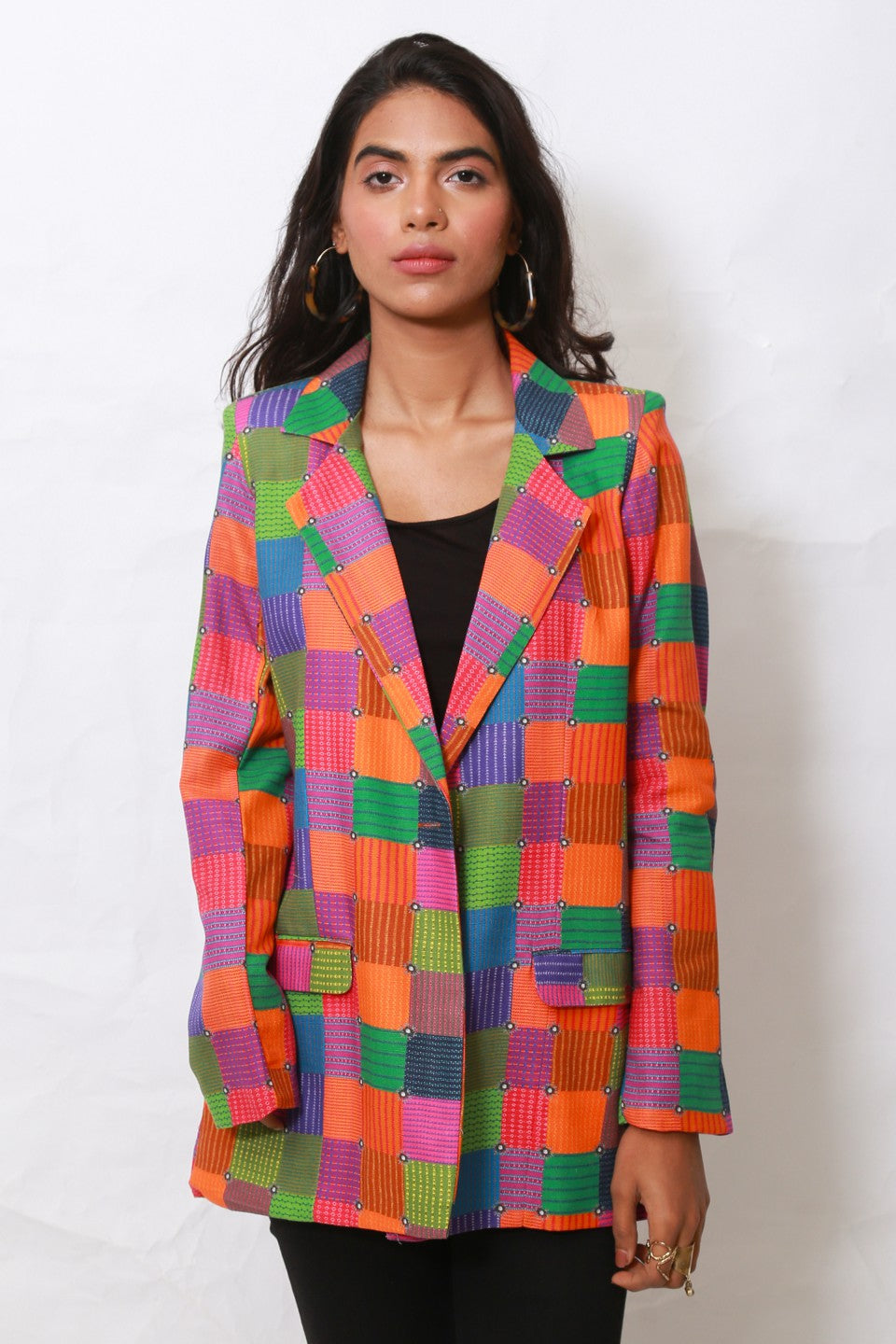 Generation - Multicolor Spliced Geometry blazer