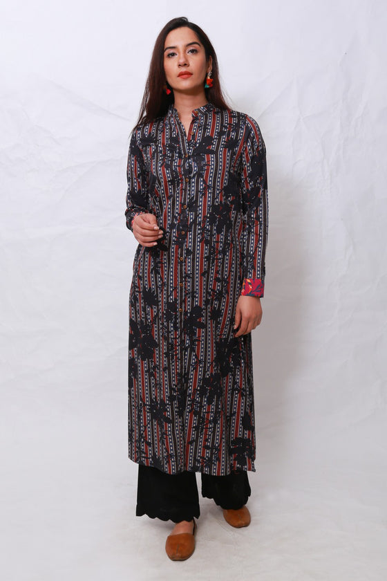 Generation - Black Sindh Bouquet Front Open Shirt