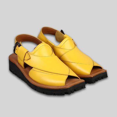 Novado - Yellow Kaptaan Leather Peshawari Chappal For Men